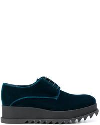 Chaussures à lacet en cuir bleu marine Jil Sander