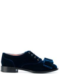 Chaussures à lacet en cuir bleu marine Rochas