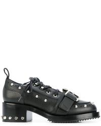 Chaussures à lacet en cuir épaisses noires No.21