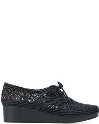 Chaussures à lacet en toile brodées noires Robert Clergerie