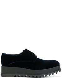 Chaussures à lacet en velours bleu marine Jil Sander