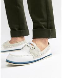 Chaussures bateau en cuir blanches Sperry