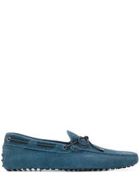 Chaussures bateau en cuir bleu canard Tod's