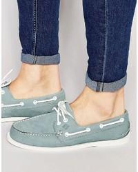 Chaussures bateau en cuir bleu clair Sperry