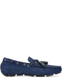 Chaussures bateau en cuir bleu marine Canali
