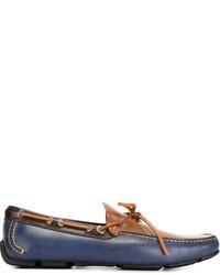 Chaussures bateau en cuir bleu marine Salvatore Ferragamo