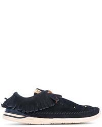 Chaussures bateau en cuir bleu marine VISVIM
