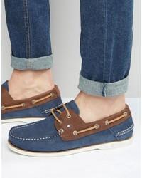 Chaussures bateau en cuir bleues marine Tommy Hilfiger