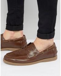 Chaussures bateau en cuir brunes Asos