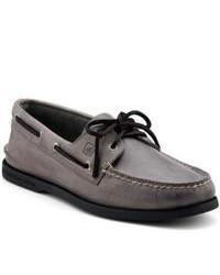 Chaussures bateau en cuir gris foncé