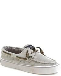 Chaussures bateau en cuir grises
