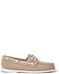 Chaussures bateau en cuir marron clair Sperry