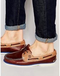 Chaussures bateau en cuir marron clair Timberland