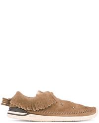Chaussures bateau en cuir marron clair VISVIM
