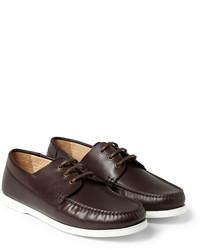 Chaussures bateau en cuir marron foncé A.P.C.