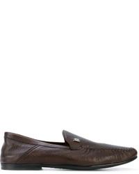 Chaussures bateau en cuir marron foncé Bally