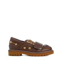 Chaussures bateau en cuir marron foncé N°21