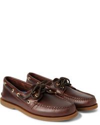 Chaussures bateau en cuir marron foncé Sperry