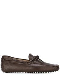 Chaussures bateau en cuir marron foncé Tod's
