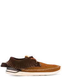 Chaussures bateau en cuir marron foncé VISVIM