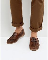 Chaussures bateau en cuir marron Asos