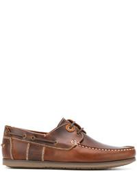 Chaussures bateau en cuir marron Barbour