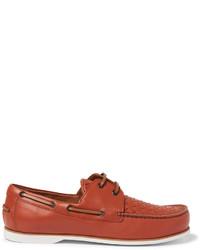 Chaussures bateau en cuir marron Bottega Veneta