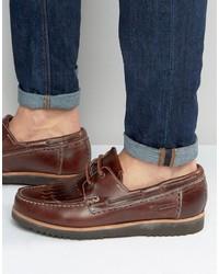 Chaussures bateau en cuir marron Grenson