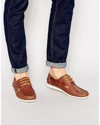 Chaussures bateau en cuir marron Selected
