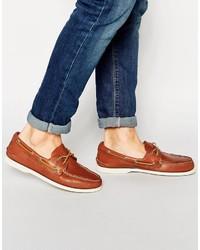 Chaussures bateau en cuir marron Sperry