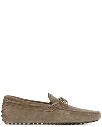 Chaussures bateau en cuir marron Tod's