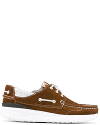 Chaussures bateau en cuir marron VISVIM