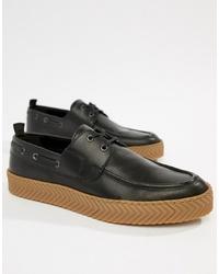 Chaussures bateau en cuir noires ASOS DESIGN