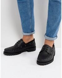 Chaussures bateau en cuir noires Asos