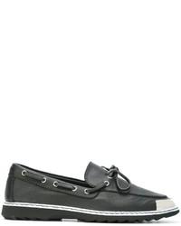 Chaussures bateau en cuir noires Giuseppe Zanotti Design
