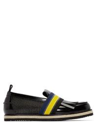 Chaussures bateau en cuir noires MSGM