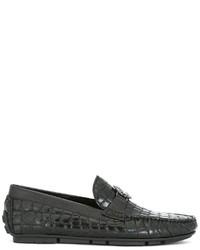 Chaussures bateau en cuir noires Roberto Cavalli