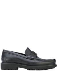 Chaussures bateau en cuir noires Salvatore Ferragamo