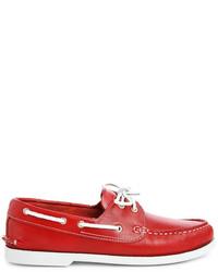 Chaussures bateau en cuir rouges