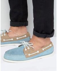 Chaussures bateau en daim bleu clair Sperry