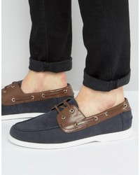 Chaussures bateau en daim bleu marine Asos