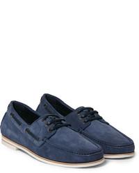 Chaussures bateau en daim bleu marine Brioni