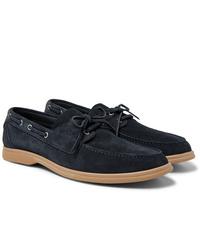 Chaussures bateau en daim bleu marine Brunello Cucinelli