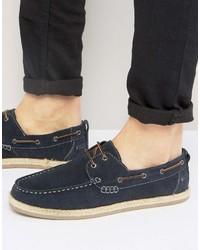 Chaussures bateau en daim bleu marine