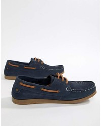 Chaussures bateau en daim bleu marine Dune
