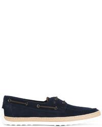 Chaussures bateau en daim bleu marine Tod's
