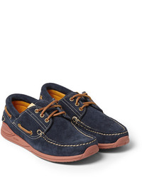 Chaussures bateau en daim bleu marine VISVIM