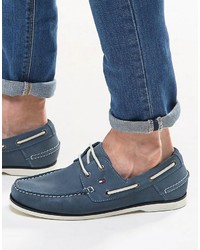 Chaussures bateau en daim bleues Tommy Hilfiger