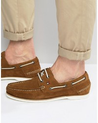 Chaussures bateau en daim brunes claires Tommy Hilfiger