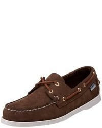 Chaussures bateau en daim brunes foncées